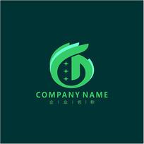 字母D 绿色生物 标志 logo