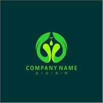 字母G 绿色 植物 标志 logo CDR