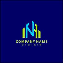 字母N 建筑 标志 logo CDR
