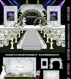 大理石婚礼背景板