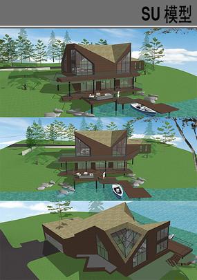 海边木屋建筑模型