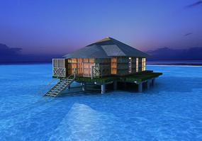 海边水上度假木屋模型