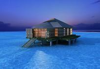 海边水上度假木屋模型 max