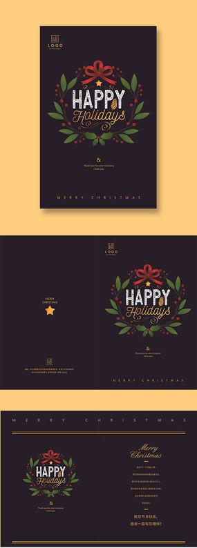 黑色圣诞节贺卡卡片