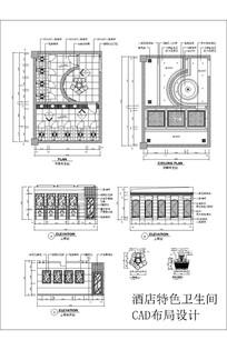 酒店特色卫生间CAD布局设计