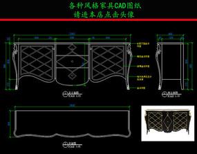 美式餐柜CAD图纸