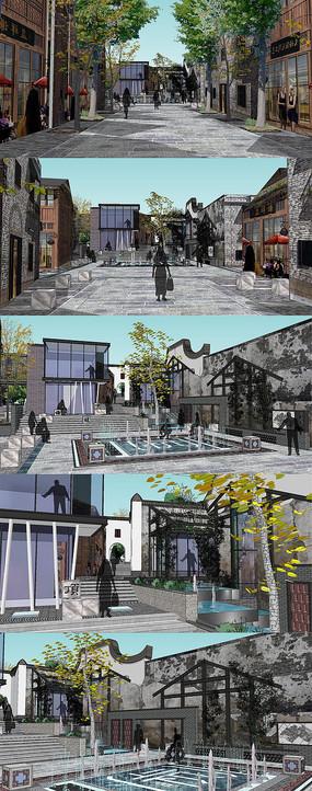 民族商业街建筑SU模型