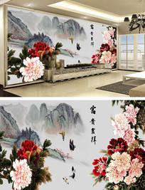 牡丹山水国画背景墙