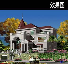 欧式复古三层别墅建筑效果图