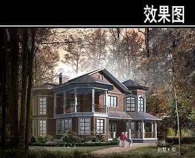 欧式家庭式小别墅效果图