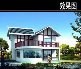 双层半圆型别墅效果图