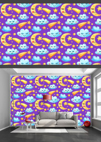 星空月亮云朵卡通儿童背景墙