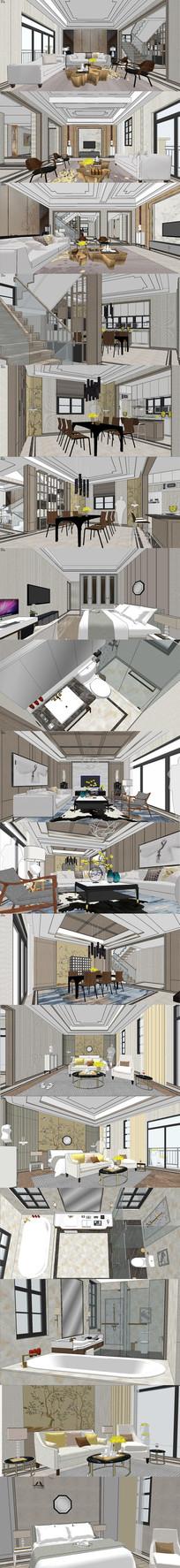 新中式别墅室内设计SU模型