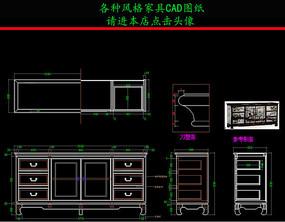 新中式电视柜CAD图纸