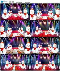绚丽动感圣诞雪人背景视频