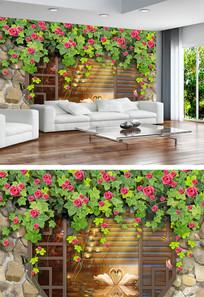 油画电视天鹅湖家和富贵背景墙
