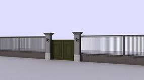 中式大门围墙max模型图片