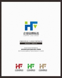 HF字母组合创意标志设计