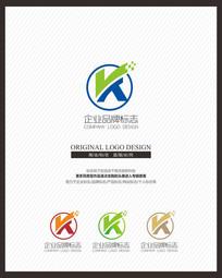 K字母电子电器科技企业标志