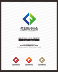 LF字母组合原创标志设计