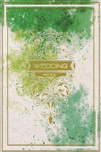 婚礼黄绿色水彩形象背景墙