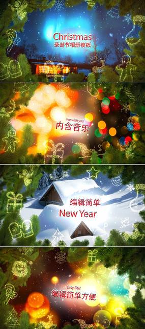 圣诞节新年家庭相册ae模板