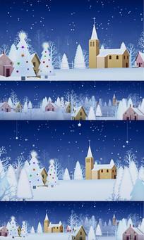 圣诞节雪景舞台视频
