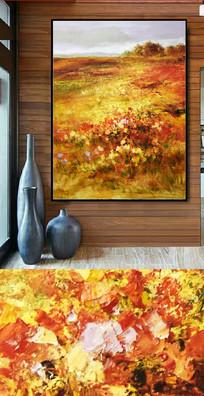 鲜花花开富贵油画图