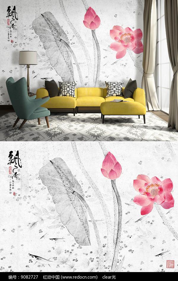 新中式手绘抽象荷花电视背景墙