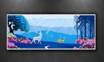 中式彩墨山水装饰画