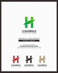 """竹子产品""""H""""字母创意标志 CDR"""