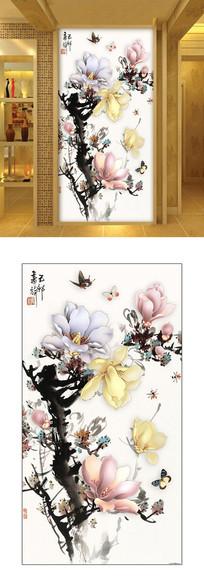 新中式抽象兰花玄关室内背景墙
