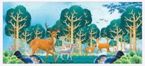 北欧风彩墨山水装饰画