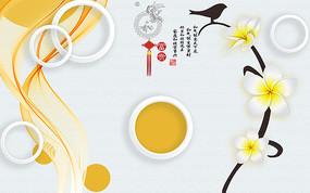 浮雕花朵立体圆圈背景墙装饰画