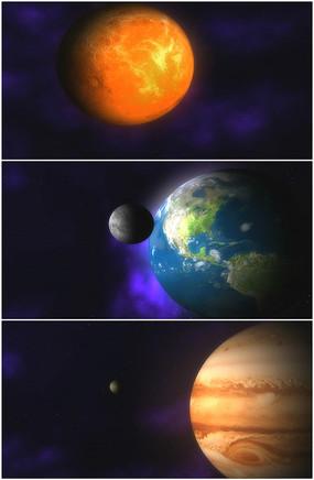 太阳系轨道地球星球旋转视频
