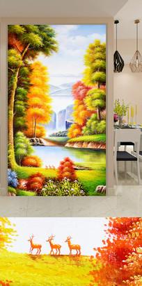 金秋树林麋鹿玄关装饰画