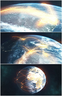 金色光线轨迹环绕地球坐标视频
