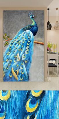 蓝孔雀玄关装饰画