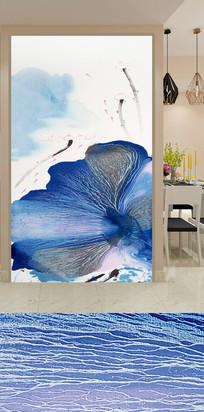 蓝色喷溅艺术荷花玄关装饰画