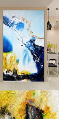 蓝色喷溅艺术玄关装饰画