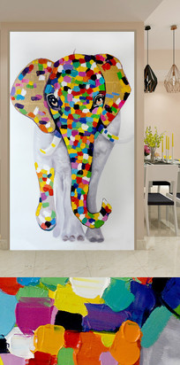 拼图抽象大象玄关装饰画