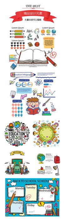 手绘学习校园信息图素材