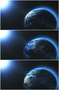 太阳光芒照射地球视频可循环