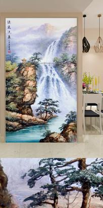 油画山水瀑布玄关装饰画