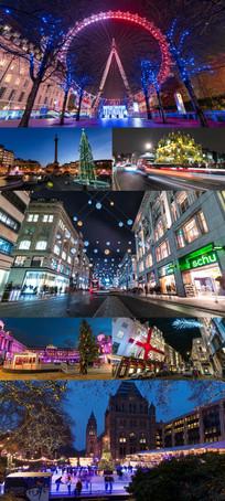 张灯结彩城市夜景延时摄影
