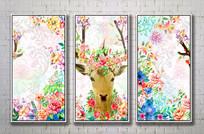 彩墨麋鹿欧式装饰画