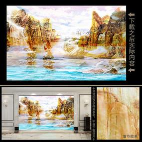 高温烧江山如画大理石纹背景墙
