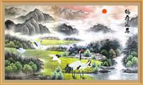 鹤寿延年装饰画