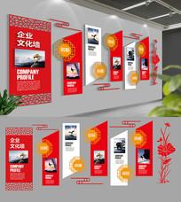 红色古典企业文化墙展板