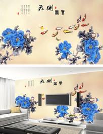 花开富贵牡丹祥云电视背景墙